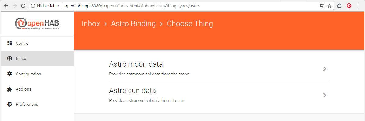 AstroBinding Thing hinzufügen