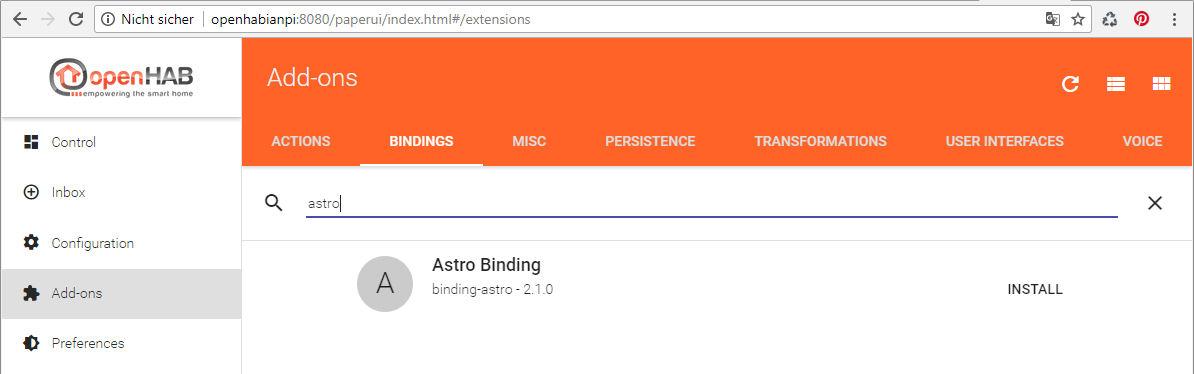 OpenHab Astro Binding installieren