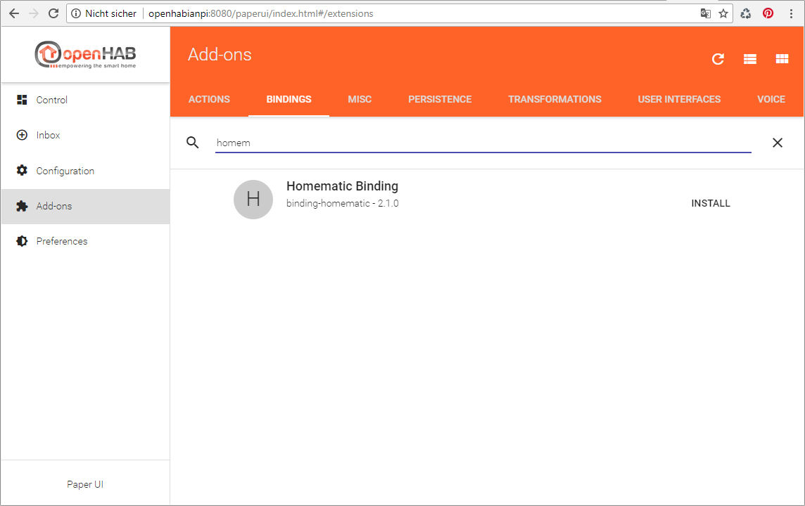 HomeMatic Binding in OpenHab installieren