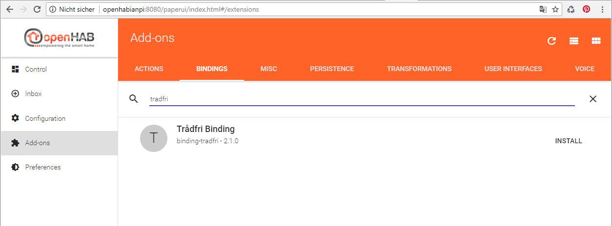 OpenHab Tradfri Binding installieren